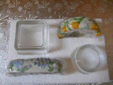 Nib PartyLite Floral Garden Votive Set P7577, Hummingbird Butterfly Square Round