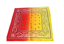 RED YELLOW PAISLEY FANCY DRESS 100% COTTON HEADWEAR SCARF WRAP MENS NECKERCHIEF