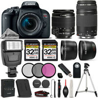 Canon EOS Rebel T7i 800D Camera + 18-55mm IS STM Lens + 75-300mm + 64GB + Flash