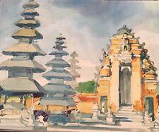 Original Watercolor Asian Pagodas Landscape Beautiful Rich Colors Vintage Piece