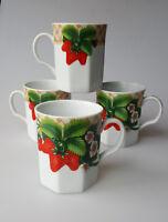 Andrea by Sadek strawberry mugs set of 4 porcelain octagonal 8oz