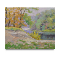 NY Art - Creekside Pastel Tones Landscape 20x24 Original Oil Painting on Canvas!