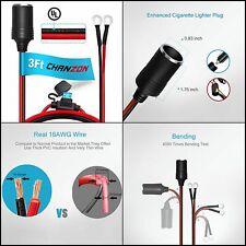 Female Cigarette Lighter Outlet 3Ft Eyelet Terminal Plug Power Cable Socket Car