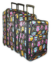 Cute Owl Print Expandable 3 pc Piece Luggage Set for Travel Soft Sided Check In