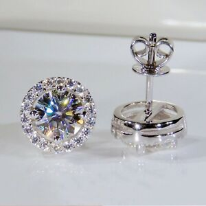 2.40 TCW Round Cut Moissanite Halo Stud Earring In 14k White Gold Plated
