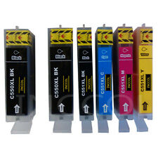 6 Replacements for Canon PGI-550 / CLI-551 XL HIGH YIELD printer ink cartridges