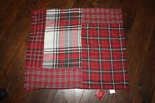 """NWT Pottery Barn ~LANDON PATCHWORK PLAID~ 24"""" PILLOW Cover ~RED & BLACK~"""
