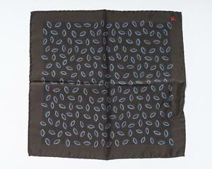 "Isaia Napoli NWT Brown Blue Almond Print Pocket Square 100% Silk 13"" 33 cm"