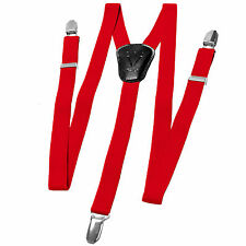 New Y back Kid's Boy's Suspender Braces adjustable strap clip on casual Red