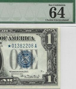 1934 $1 * STAR * ⭐️ SILVER CERTIFICATE, PMG CHOICE UNCIRCULATED 64 EPQ BANKNOTE