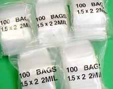 "500 Small Ziplock Bags 2mil Clear Poly Bag 1-1/2"" X 2"" Mini Zip Lock Baggies"