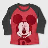"Toddler Boys Mickey Mouse Valentines Lips/Mommy Heart ""Tattoo"" LS Shirt~Red/Grey"