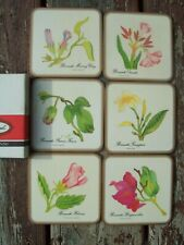 New listing Pimpernel England Bermuda Flowers Coasters Set of 6 Cork Bottoms w/Box