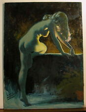 Illustrator Earl Moran Pinup  Original Oil Masonite 1960's Shadows and Light