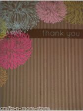 Flowers & Stripes Thank You Note Cards w/ Envelopes