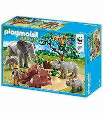 PLAYMOBIL 5275 WWF - animaux de la savane - éléphants - rhinocéros - guépard -