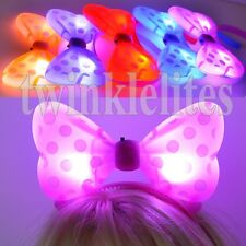 12 PACK Light Up Mouse Polka Dot Headbands LED Flashing Bows Raves EDC