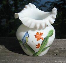 Antique Victorian Bristol Glass Vase Hand Blown With Ruffled Edge.