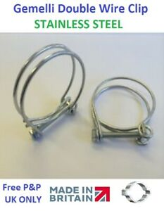 1 x Gemelli Double Wire Clip, STAINLESS STEEL - Choose your size