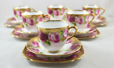 ROYAL ALBERT CROWN CHINA OLD ENGLISH ROSE TRIOS X 6 CUPS SAUCERS SIDE PLATES 1ST