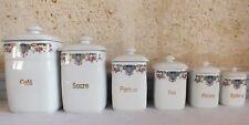 série à épices porcelaine 6 pots années 40 spices pots