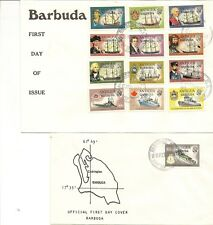 BARBUDA 1973-74 SHIPS DEFINITIVES TO $5 0N (3) OFFICIAL FIRST DAY COVERS