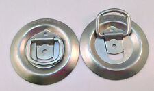2pc Tie-Down Anchors, Round Bolt-On Cargo Tie Down Flush Mount D-Rings 1,200 MBS