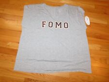 Boutique, Size 2X, NWT, Heather Grey Shirt with FOMO on it in raised letters
