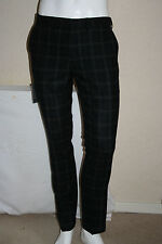 Topman Mens Navy Check Wool Blend Skinny Fit Trousers Size W30R New