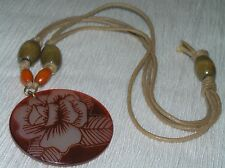 Estate Doublestrand Tan Cord with Orange Wood Bead & Large Round Plastic White