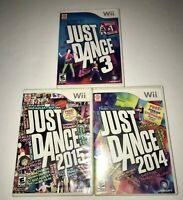 Just Dance 3, 2014 & 2015 (Nintendo Wii) Lot Of 3 Video Game Bundle *TESTED*