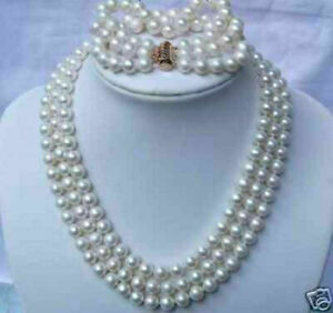 """3 rows AAA+ 8-9mm neatural akoya white necklace  17-18-19"""" + 7.5-8"""" bracelet 14k"""