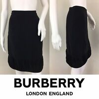 BURBERRY LONDON Skirt Size 10 Knee Length Black Straight SILK Ruffle Lined