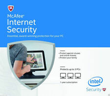 McAfee Internet Security 2016/17 1 Year Licence for 3 PC Users - Latest Edition