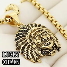 """30""""Round Box Chain 73g R117 Stainless Steel Gold Indian Head Pendant"""