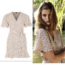 Topshop Nude Peach Ditsy Floral Daisy Print Frilled Wrap Dress - Size 12