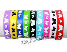 FREE Lots 20pcs Silicone Rubber Elasticity Wristband Bracelet Animal Butterfly