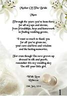 Wedding Day Thank You Gift, Mother Of The Bride Poem A4 Photo