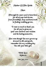wedding day thank you gift mother of the bride poem a4 photo
