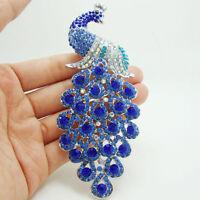 Art Nouveau Peacock Bird Pendant Brooch Pin Blue Rhinestone Crystal