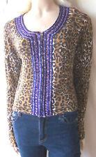 Karen Millen cardigan leopard print purple beaded size 2/10-12 rockabilly sequin