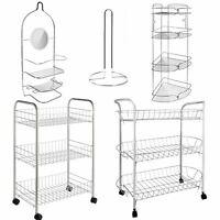 Chrome Bathroom Accessory Shower Caddy Corner Rack Storage Trolley Roll Holder