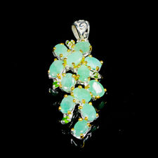Fine Art SET Natural Emerald 925 Sterling Silver Pendant /NP07071