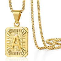 """Gold Filled Initial Letter A-Z Pendant Chain Necklace 18-30"""" Box Link Necklace"""