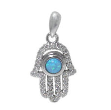 Rhodium plated on Sterling Silver Hamsa pendant with emulated opal stone