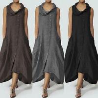 ZANZEA 8-24 Women Summer Sleeveless Sundress Kaftan Flare Swing Long Maxi Dress