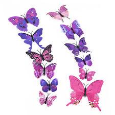 12 Pcs 3d Butterflies Butterfly Wall Stickers Decal Art Decorations Decor Kids Purple