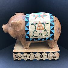 Seymour Mann Faux Wooden Welcome Pig Resin Figurine Folk Country Decor