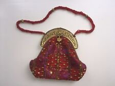 Middle Eastern Red Glass Beaded Bag Purse Israelianna