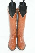 VINTAGE JUSTIN WOMENS 6 B BROWN LEATHER FASHION CLASSIC WESTERN COWBOY BOOTS